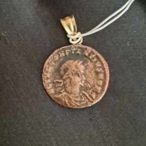 Judean Roman Coin Charm with 18k Bail